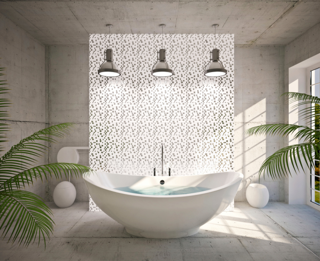 Simple all white bath with modern claw tub illuminated with 3 drop-down lights
