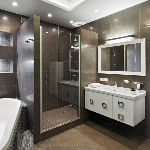 Dark brown bathroom design with white sink