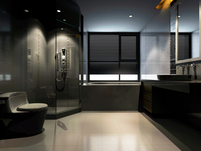 Large modern black bathroom with all-glass shower