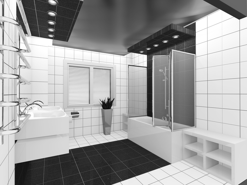 Crisp white bathroom with black accents