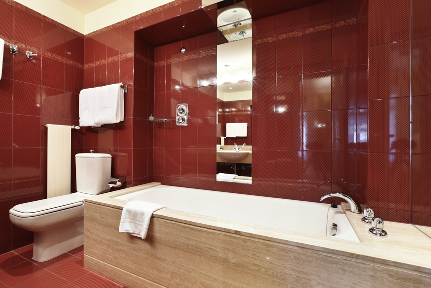 incredible red modern bathroom