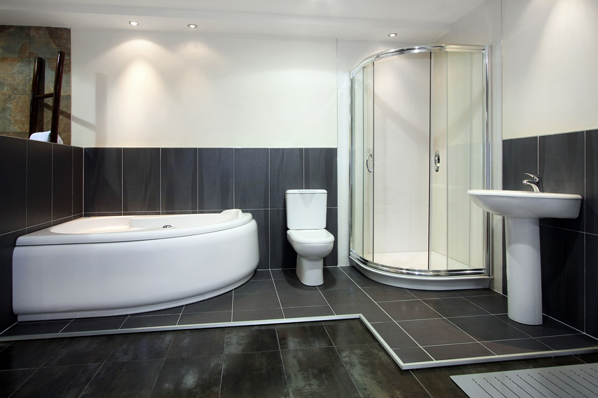 Black And White Bath With Glass Shower And White Jacuzzi Tub