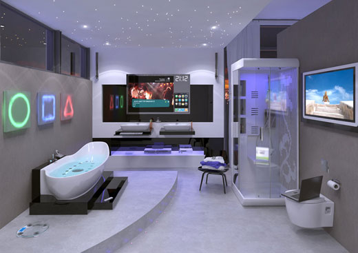 Bathroom with neon signs and crazy lighting with televisions mounted on the walls