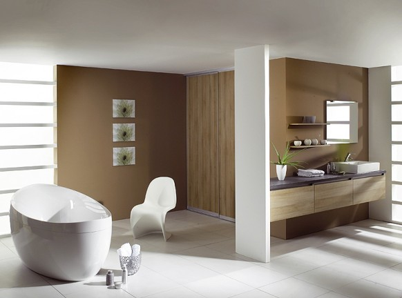 Spacious wood and white modern bathroom with stand-alone white tub and single sink