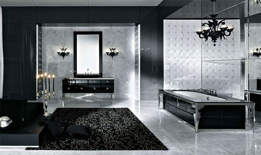 Extremely luxurious and expensive modern bath in black design