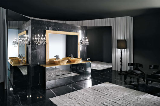 Black modern bathroom with huge black bathtub and tile work