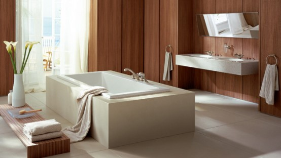 Spa-like bathroom with wood walls, white tub and white sink