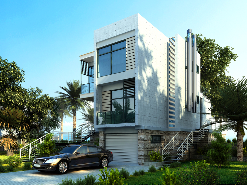3-story white modern home design on the beach in the tropics with palm trees in the front yard