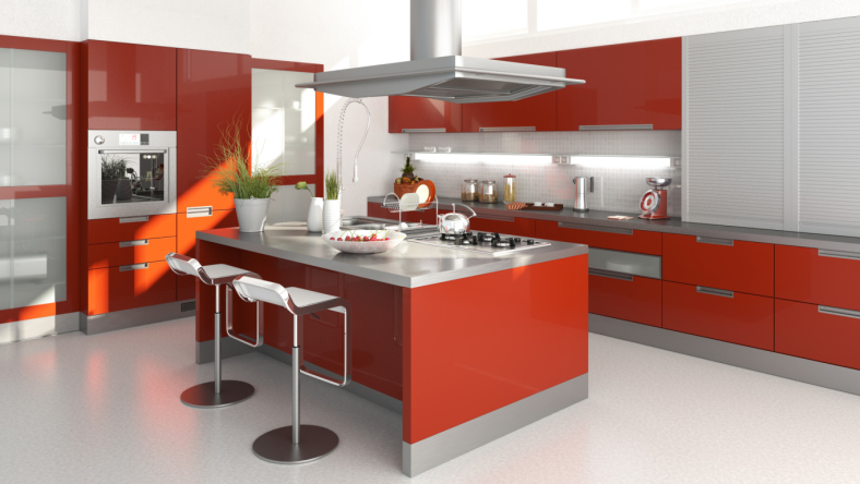 Stunning large red modern kitchen with large island and white floor
