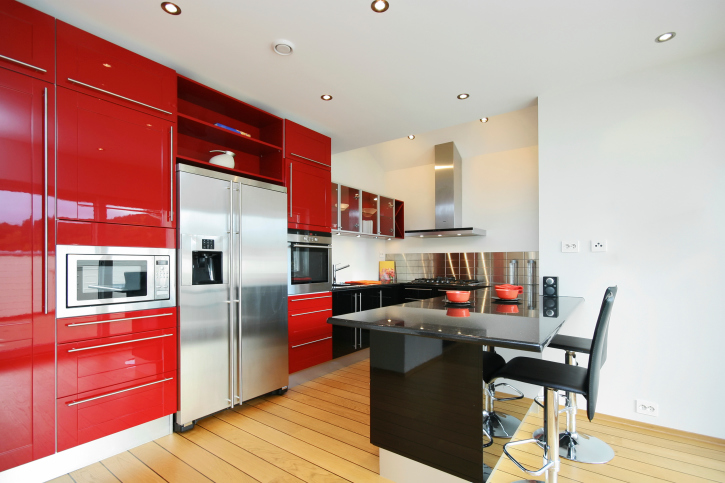 Great Small Red Kitchen With Black Island And Light Hard Wood Flooring Part 23