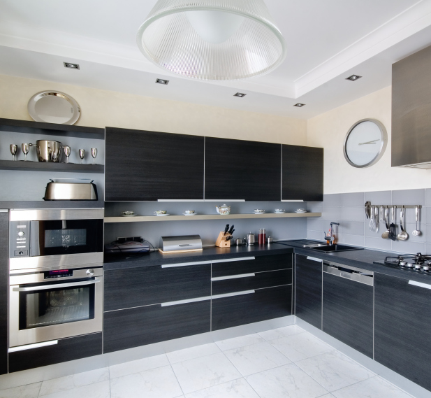 modern black kitchen designs dark kitchen cabinets with white floor and walls with stainless steel appliances