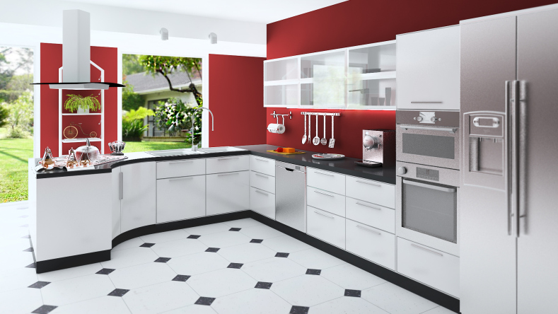 Custom modern kitchen with red walls, white cabinets, black and white floor and stainless steel appliances