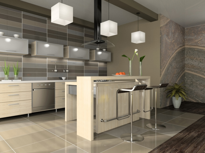 Very light wood modern kitchen with stylish lighting and eat-in bar