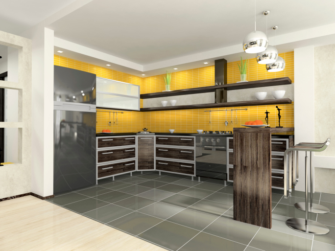 Yellow and black modern kitchen with grey tile floor