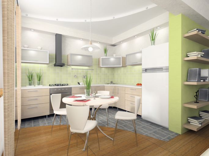 Stylish light green and light wood kitchen design with eat-in table