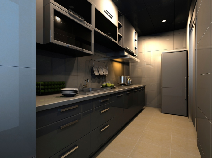 Small modern dark galley kitchen