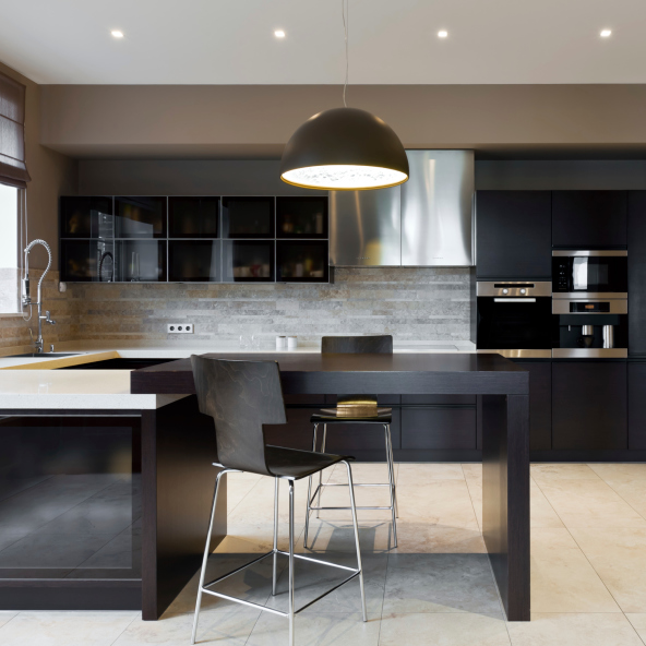 Simple Elegant Dark Kitchen Design Idea With White Floor Part 36
