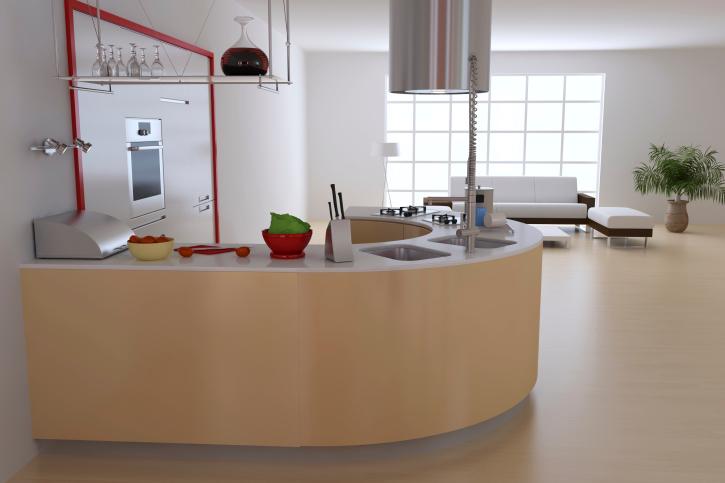 Minimalist round kitchen in wood-tones with white walls