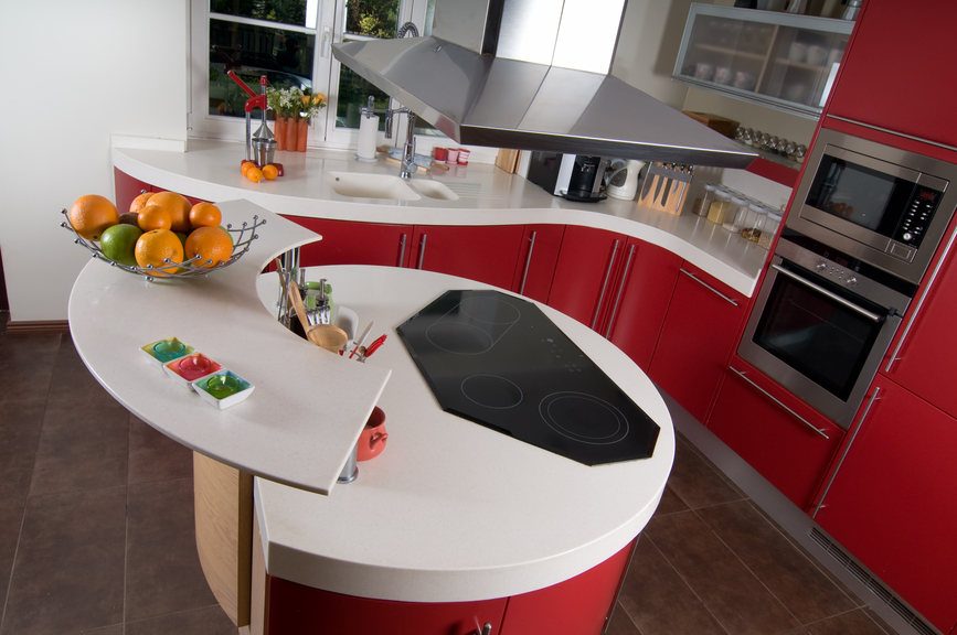 Round Red Modern Kitchen With White Counter Tops