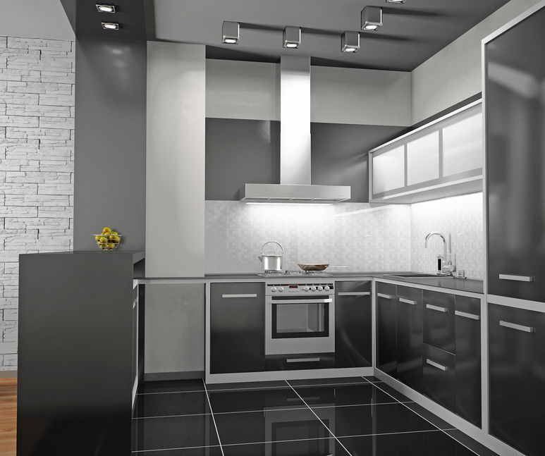 Custom small black and white kitchen - white walls, black appliances and floor