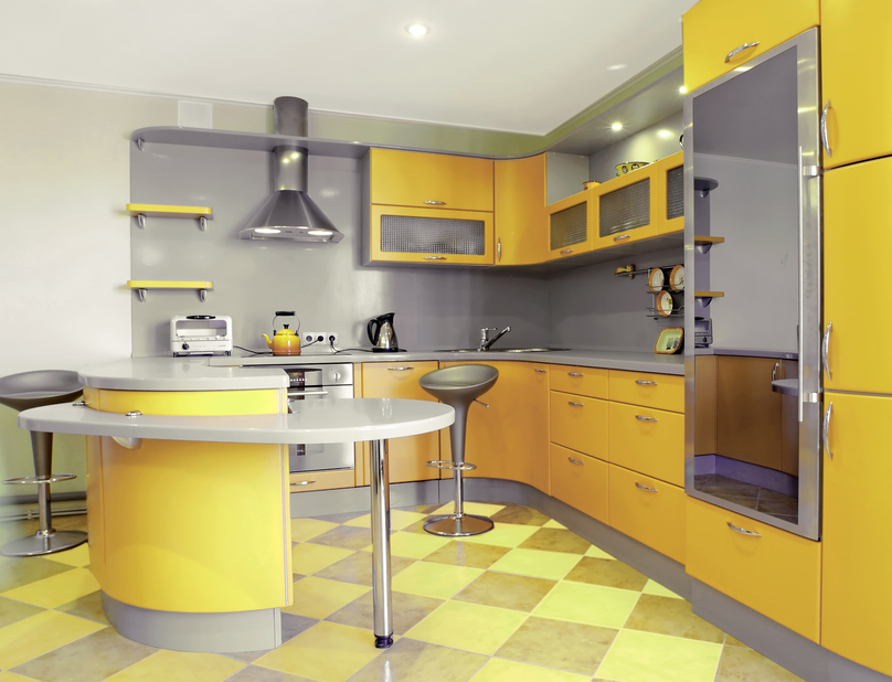 Grey and yellow modern kitchen design idea