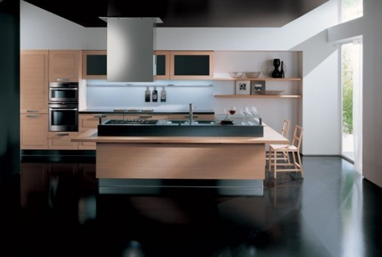 Light wood and black floor with white wall modern kitchen (picture)