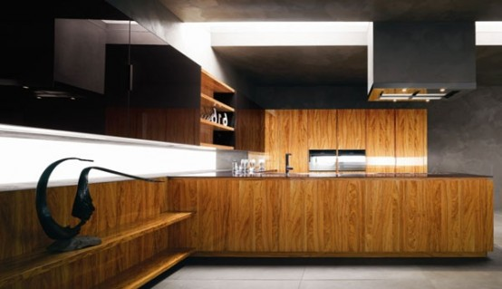 Dark wood with black wall kitchen design