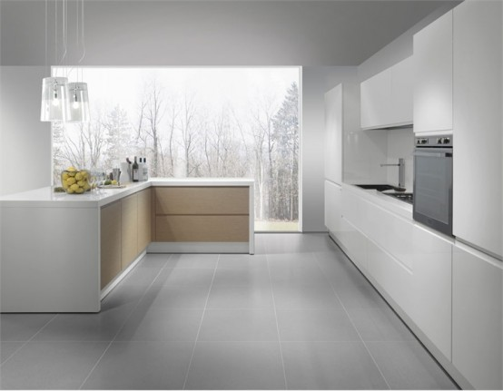 crisp white kitchen design with grey floor