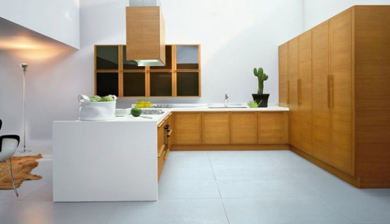 Large minimalist white and wood kitchen design with white floor