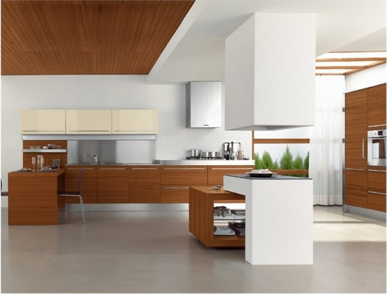 Large elegant modern wood and white kitchen