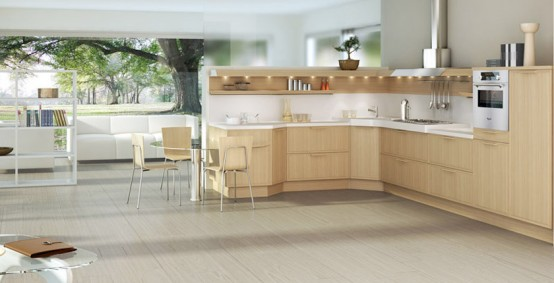 Large airy modern wood kitchen design with large sitting area (open concept)