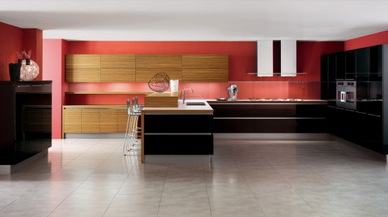 Red and black kitchen design with white floor