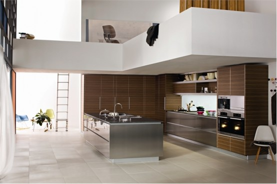 Modern cathedral ceiling kitchen with silver and wood color scheme