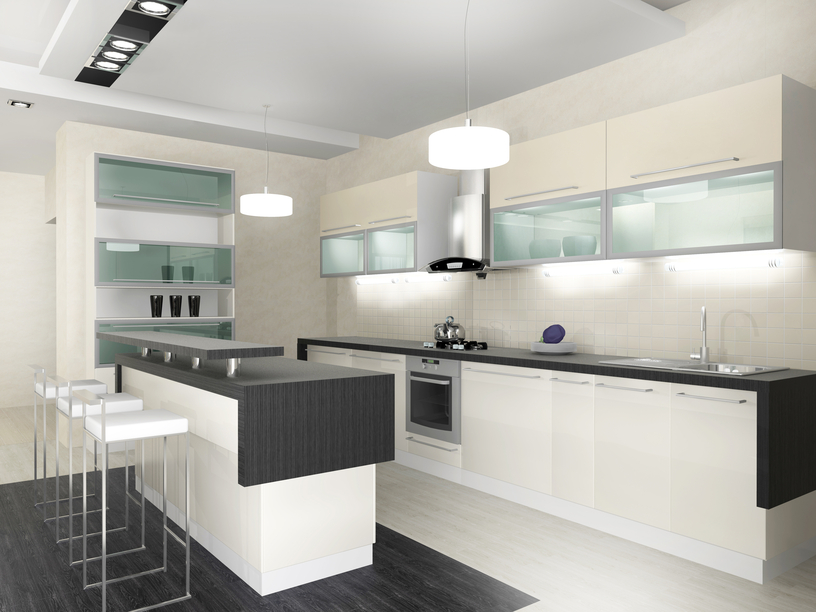 Custom black and white kitchen with white cabinets and black counter tops. Floor is black and white also.