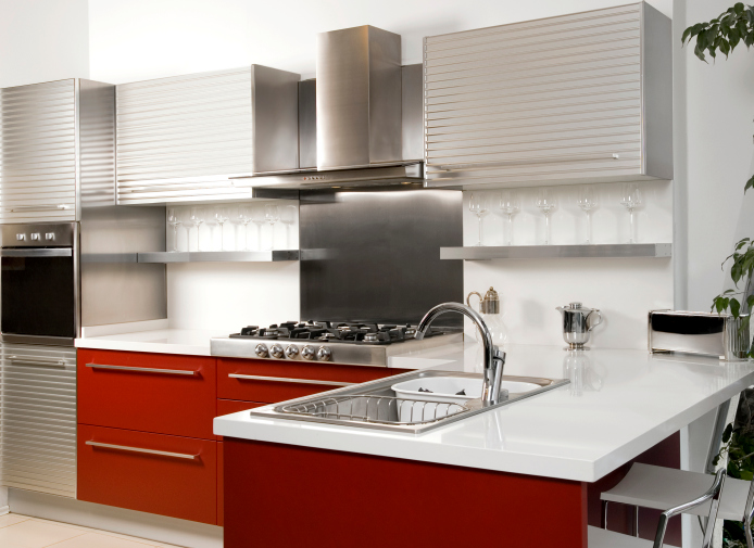 White, silver and red kitchen design