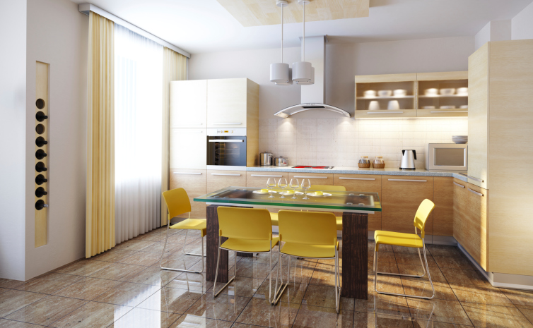 Light wood kitchen design with yellow color scheme dining area