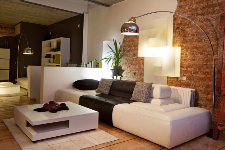 Beautiful Stylish Modern Living Room With Reading Lamps And Brick Wall Awesome Design