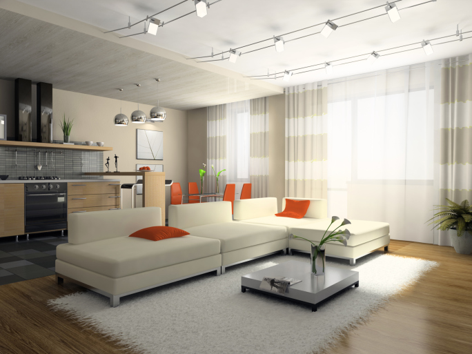Apartment modern living room with white sectional and hard wood flooring : white sectional living room - Sectionals, Sofas & Couches