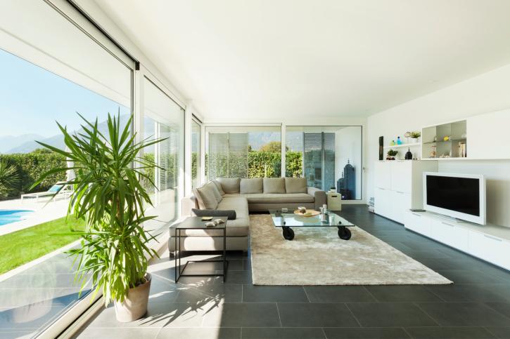 Incredible long living room overlooking swimming pool