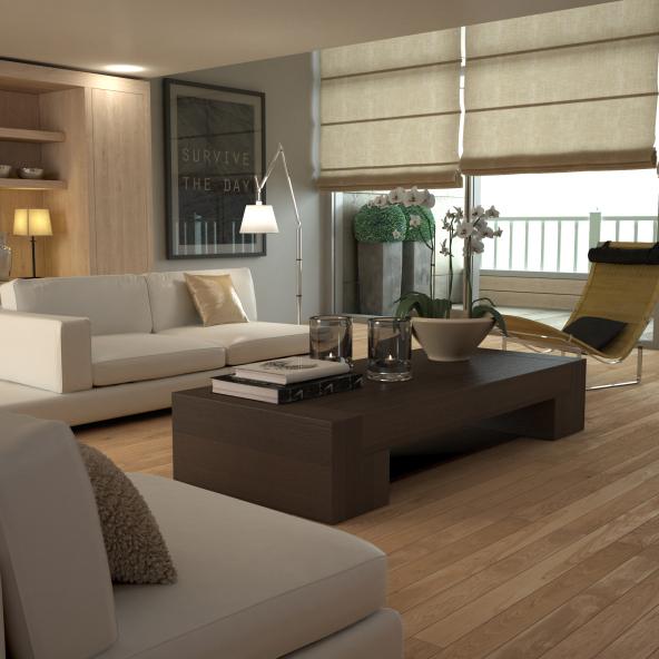 contemporary living room with large dark brown coffee table and cream sofas with light wood floor