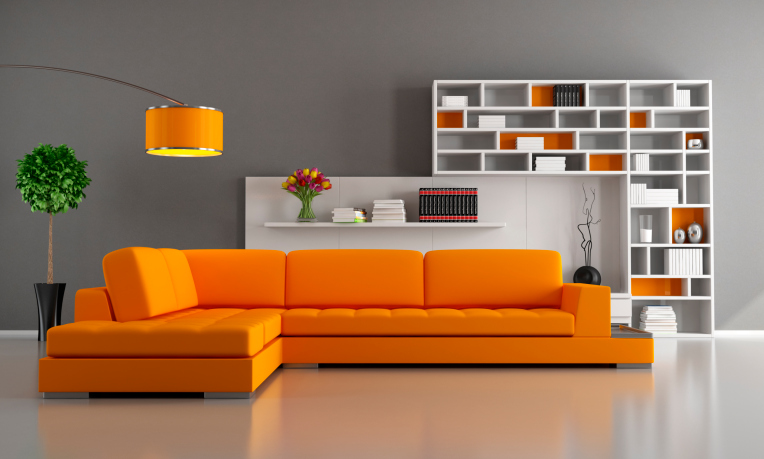 Perfect Modern Living Room Design With Bright Orange Sectional Sofa, Grey Walls,  Orange Lamp And