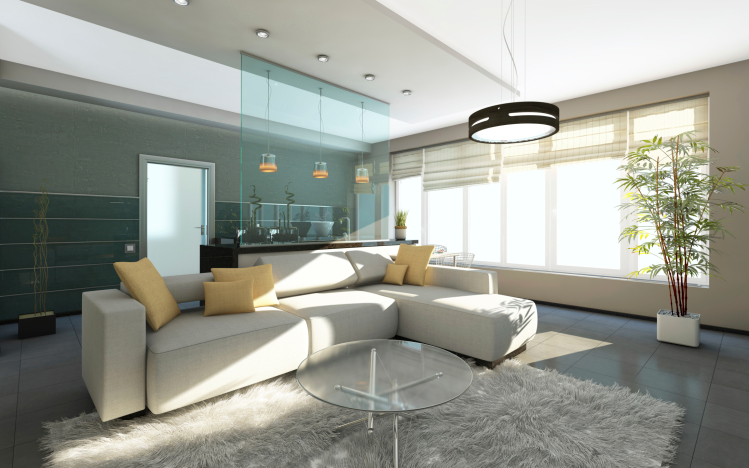 White, Grey And Blue Living Room Interior Design With Large White Sofa,  Recessed Lighting