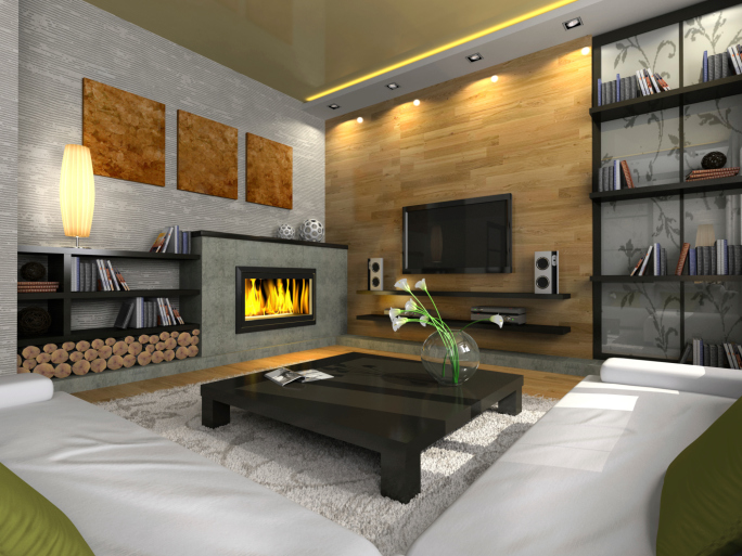 Corner Facing Living Room With Gas Fireplace, 2 White Sofas, Wood And Brick  Wall Part 98