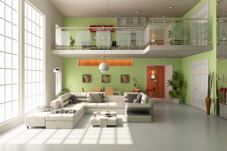 Loft Apartment Living Room With Large White Sectional Sofa Floor Green Walls And