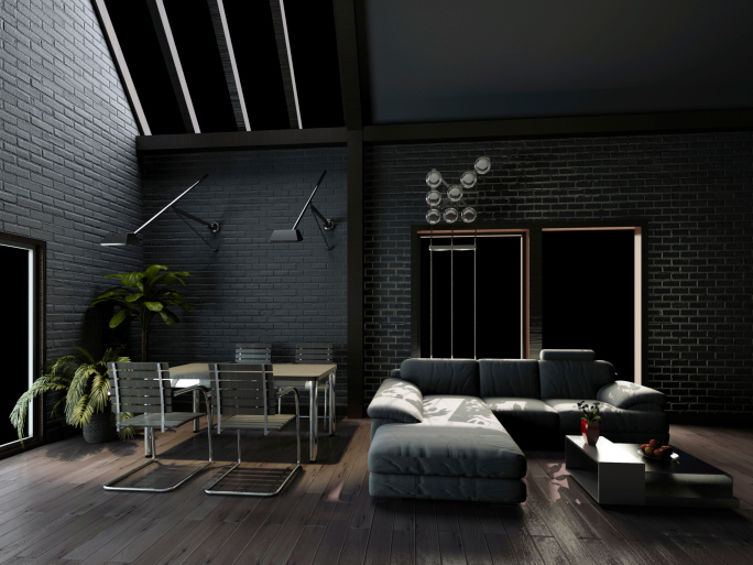 dark living room with dark grey walls and sofa on dark wood floor