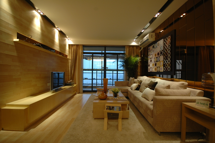 Long Narrow Living Room With Built In TV Bench, Long Sofa On Light Wood
