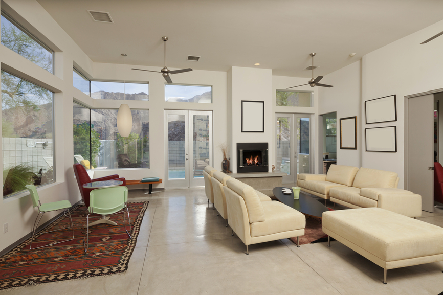 Crisp White And Cream Living Room With Gas Fireplace