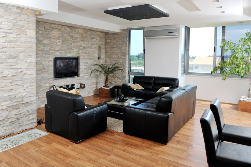 Small Living Room With Light Brick Wall, Mounted Flat Screen TV, Black  Furniture With Part 72