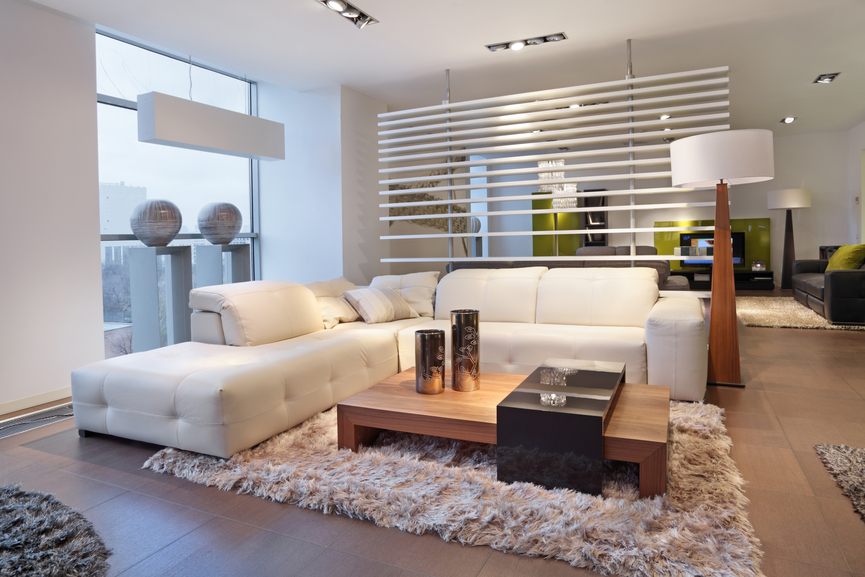 Warm modern living room with shag rug and white sectional sofa