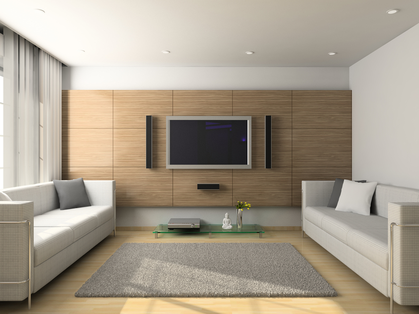 Light modern living room with flat screen TV and light wood floors 78 Stylish Modern Living Room Designs in Pictures You Have to See